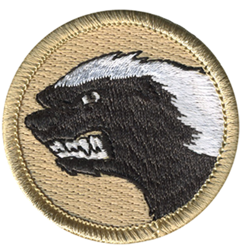 Angry Honey Badger Scout Patrol Patch - embroidered 2 inch round