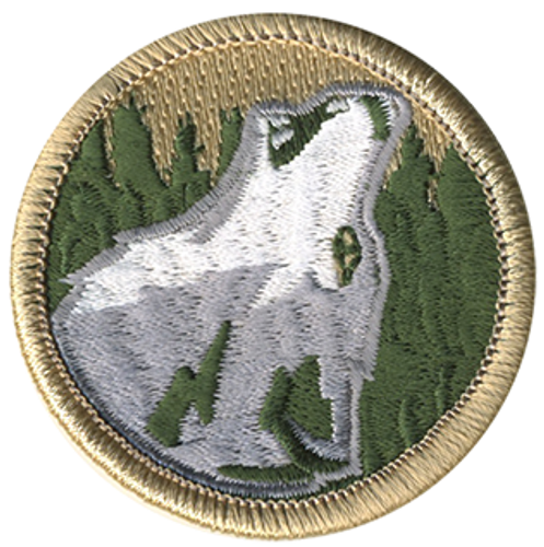 Howling Wolf Head Scout Patrol Patch - embroidered 2 inch round