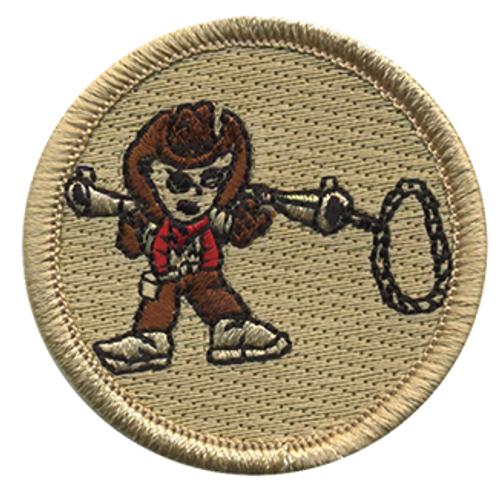 Lasso Gun Cowboy Scout Patrol Patch - embroidered 2 inch round