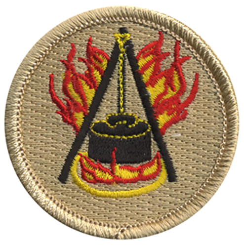 Flaming Dutch Oven Scout Patrol Patch - embroidered 2 inch round