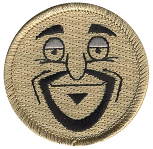 Goatee Man Scout Patrol Patch - embroidered 2 inch round