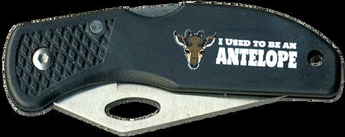 Wood Badge Lockback Knife of Wood Badge Antelope Critter - Front View
