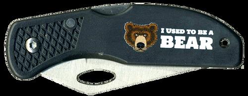 Wood Badge Lockback Knife of Wood Badge Bear Critter - Front View