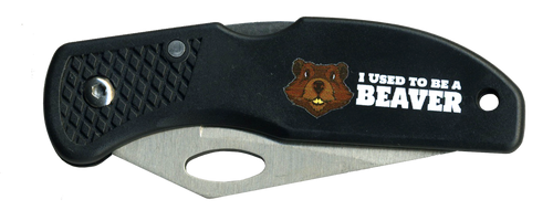 Wood Badge Lockback Knife of Wood Badge Beaver Critter - Front View