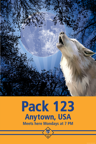 Cub Scout Pack Poster With Cub Scout Logo and Pack Number