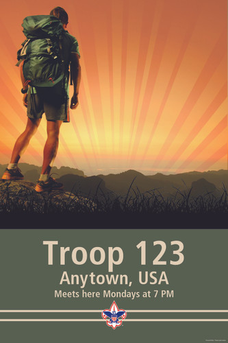 Scouts BSA Troop Poster with BSA Corporate Logo and Troop Number