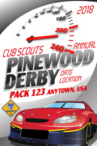 Custom Cub Scout Pack Pinewood Derby Poster -  Speedometer (SP4652)