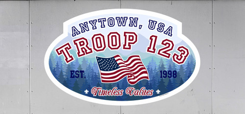 Scouts BSA Troop Trailer Graphic with Timeless Values Design