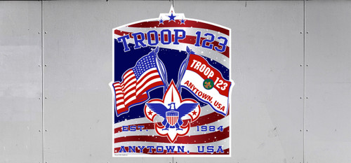 Scouts BSA Troop Trailer Graphic with Patriotic Flags Design