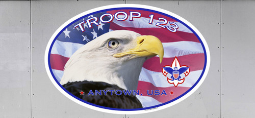 Scouts BSA Troop Trailer Graphic with Patriotic Eagle Design