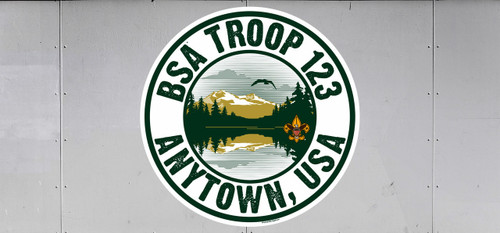 Scouts BSA Troop Trailer Graphic with Lake View Design