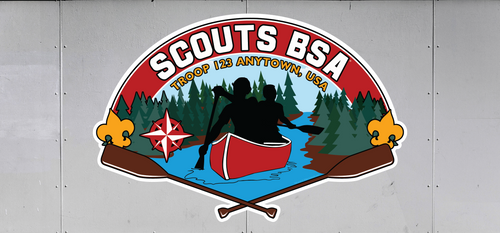 Custom Scouts BSA Troop Trailer Graphic Canoe Scene (SP6489)