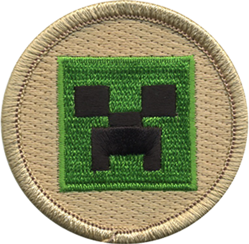 pixel cube monster Scout Patrol Patch - embroidered 2 inch round