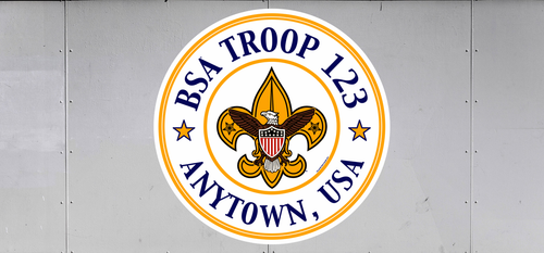 Custom Scouts BSA Troop Trailer Graphic Universal Emblem in Circle (SP6537)
