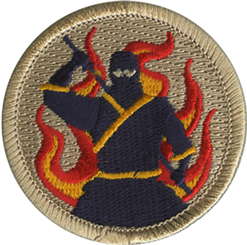 Flaming Ninja Scout Patrol Patch - embroidered 2 inch round