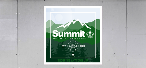 Scouts BSA Summit Bechtel Reserve Troop Trailer Graphic with Live Scoutings Adventure Logo, BSA Logo and Summit Bechtel Reserve Design