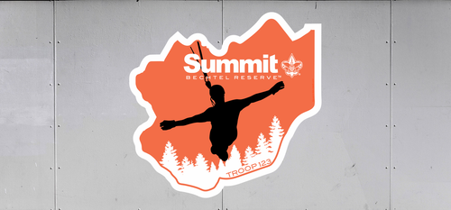 Scouts BSA Summit Bechtel Reserve Troop Trailer Graphic with BSA Logo and Summit Bechtel Reserve Design