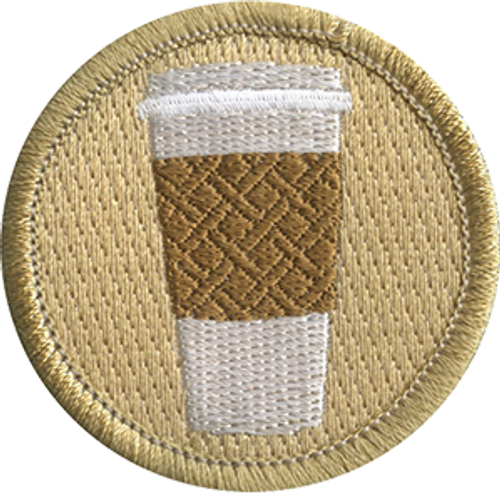 Coffee Cup with Sleeve Scout Patrol Patch - embroidered 2 inch round
