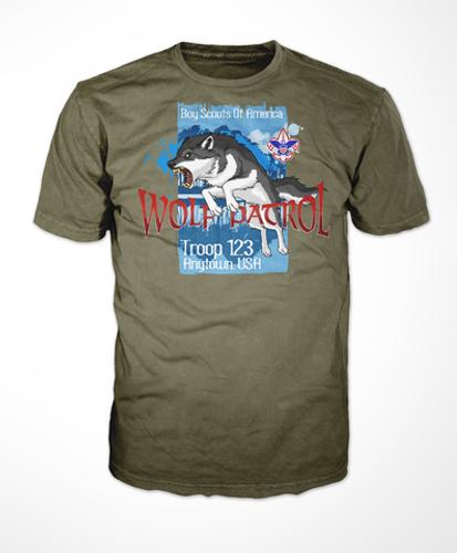 Scouts BSA Patrol Shirt with Fierce Wolf Patrol Design