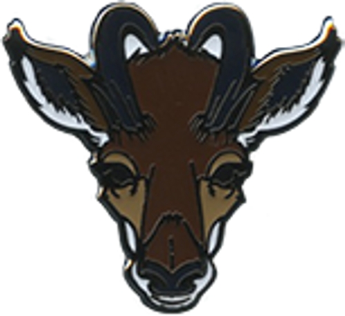 Wood Badge Pin of Wood Badge Antelope Critter Head - Front of Pin View