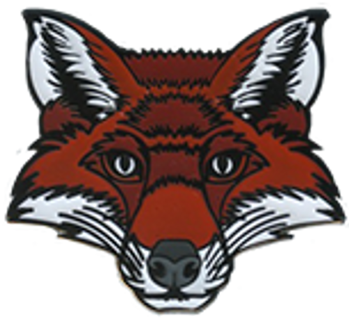 Wood Badge Pin of Wood Badge Fox Critter Head - Front of Pin View