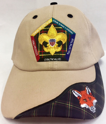 Wood Badge Hat with Wood Badge Logo and Wood Badge Fox Critter - Front View