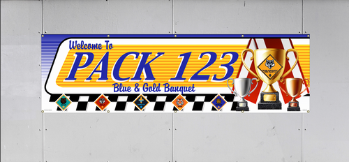 Cub Scout Pack Blue and Gold Banquet Banner with Cub Scout Logo and Cub Scout Rank Logos