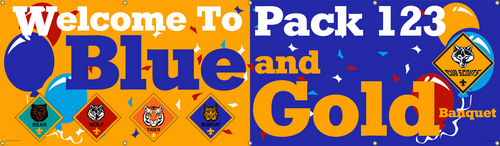 Cub Scout Pack Blue and Gold Banquet Banner with Cub Scout Logo