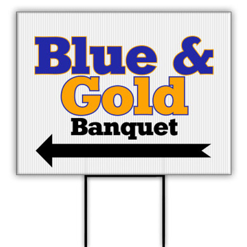 Cub Scout Pack Blue and Gold Banquet Banner with Direction Left Arrow