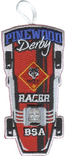 Pinewood Derby Wolf Racer Patch - Retro