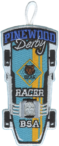 Pinewood Derby Bear Racer Patch - Retro