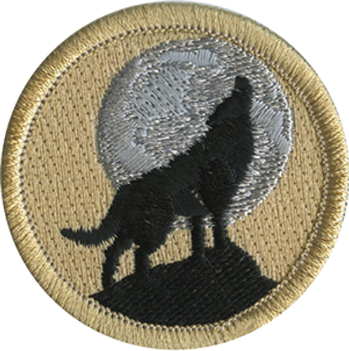Howling Night Wolf Scout Patrol Patch - embroidered 2 inch round