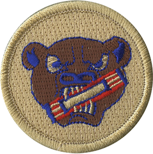 Bear with Candybar Scout Patrol Patch - embroidered 2 inch round