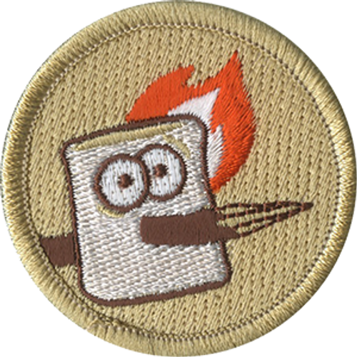 Speared Marshmallow Scout Patrol Patch - embroidered 2 inch round