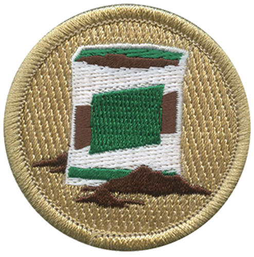 Bag of Mulch Scout Patrol Patch - embroidered 2 inch round