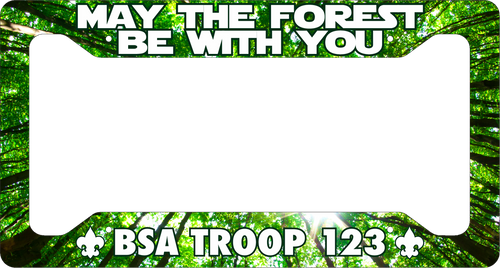 Scouting License Plate Frame Low Profile - May The Forest Be With You! SP6817