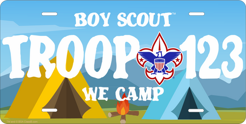 Scouts BSA Troop License Plate with BSA Corporate Logo