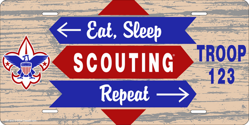 License Plate Scouts BSA Eat Sleep Scouting Repeat SP6839