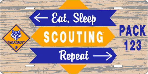 License Plate Cub Scout Eat Sleep Scouting Repeat SP6840