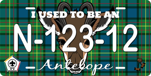 BSA Wood Badge License Plate with Wood Badge Tartan Background, Wood Badge Logo, Wood Badge Antelope Critter and Wood Badge Course Number