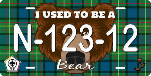 BSA Wood Badge License Plate with Wood Badge Tartan Background, Wood Badge Logo, Wood Badge Bear Critter and Wood Badge Course Number