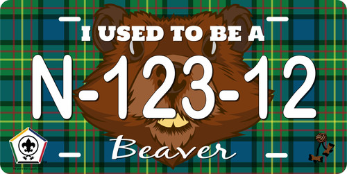 BSA Wood Badge License Plate with Wood Badge Tartan Background, Wood Badge Logo, Wood Badge Beaver Critter and Wood Badge Course Number