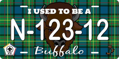 BSA Wood Badge License Plate with Wood Badge Tartan Background, Wood Badge Logo, Wood Badge Buffalo Critter and Wood Badge Course Number
