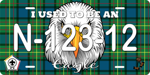 BSA Wood Badge License Plate with Wood Badge Tartan Background, Wood Badge Logo, Wood Badge Eagle Critter and Wood Badge Course Number