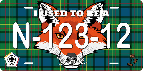 BSA Wood Badge License Plate with Wood Badge Tartan Background, Wood Badge Logo, Wood Badge Fox Critter and Wood Badge Course Number
