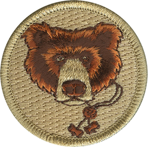 Wood Badge Bear with Beads Scout Patrol Patch - embroidered 2 inch round