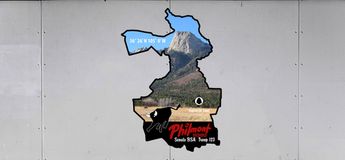 Custom BSA Philmont Troop Trailer Graphic with Philmont Trek Map, Philmont Bull, and Philmont Tooth of Time Design