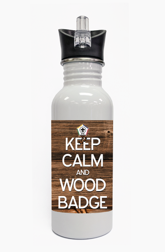 Wood Badge Water Bottle  with Wood Badge Logo - Front View