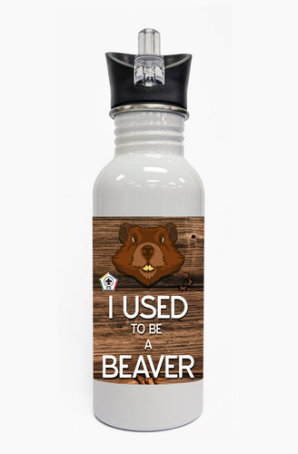 Wood Badge Water Bottle With Wood Badge Beaver Critter and Wood Badge Logo - Front View