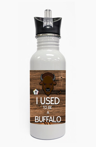 Wood Badge Water Bottle  with Wood Badge Buffalo Critter and Wood Badge Logo - Front View